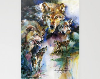 Wolves - Beautiful Blank Wolf Greeting Cards from Original art by Kathy Morton Stanion EBSQ
