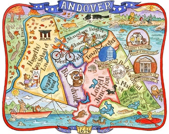 "Map of Andover Massachusetts Art Print 8""x 10"""