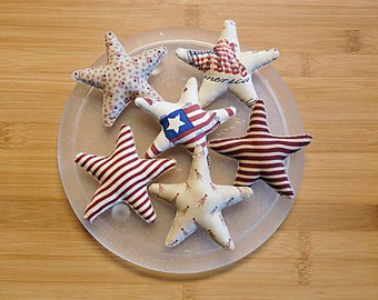 Fourth of July Primitive Star  Ornaments Bowl Fillers Set of Six