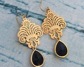 Black Diamond Scroll Chandelier Earrings