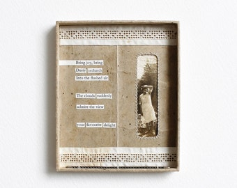 Original Vintage Photo Mixed Media Collage Cut Up Poetry