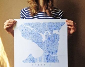 SEATTLE Map Watercolor Print Square WASHINGTON City Block Plan (Art Print Square) Anniversary Wedding Gift Wall Decor Bright Royal Blue