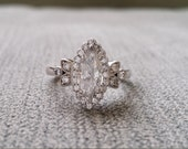 "Victorian Diamond Marquise Halo Diamond Flower Gemstone Engagement Ring Antique Filigree 14K White Gold "" TheVictoria"""