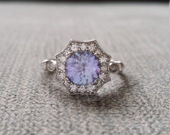 "Upgraded Halo Tanzanite Diamond Ring Gemstone Engagement Ring Antique Purple Periwinkle Blue Flower Estate 14K White Gold Vintage ""The Elsa"""