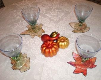 Handmade Coasters - Small Housewarming Gift - Inspired by Nature Batik Coasters - Handmade Fall Home Decor - Thanksgiving Table Decor