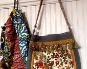 Cut Velvet Floral Gypsy Bag