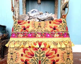 Vintage tapestry in yellow, orange and reds boho bag
