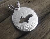 Round Radial Upper Peninsula of Michigan Sterling Silver Handmade Pendant