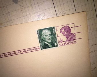 Antique Blank Post Card with Old Stamps