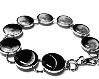 Moon Bracelet, Phases Of The Moon Bracelet, Silver Plated, Resin, Handmade, Space Jewelry, Solar System, Lunar, Moon Phase Bracelet