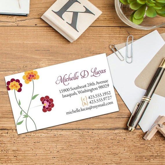 Polka Dot Chrysanthemum Personal Calling Cards, Business Cards, Set of 50 cards, Set of 100 Cards, Fun Calling Cards, Colorful Business Card