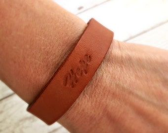 Leather Hope bracelet - Tan Leather Bracelet - Custom Bracelet - 3rd anniversary gift for Wife or Husband