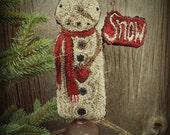 E Pattern Standing Snowman Punch Needle