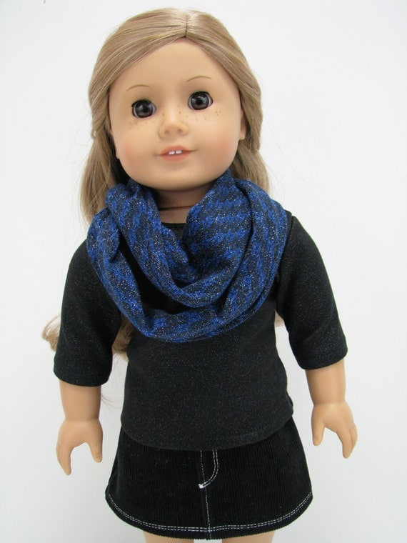 """Fits Like American Girl Doll - 18 Inch Doll Clothes - 18 Inch Doll Scarf - 18"""" Doll Top and Scarf - Black Sparkle"""