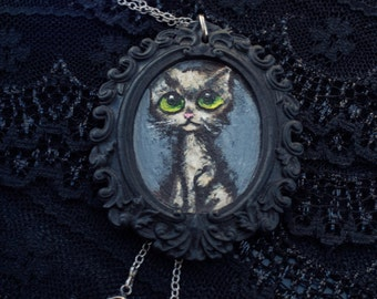 big eyed kitty cat necklace - handpainted retro cameo pendant art by elfmadchen
