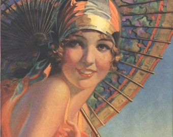 Art Print on SILK Art Deco Lady with Parasol - from a Vintage Travel Poster - muted shades - crazy quilt silky Art to wear fiber arts craft