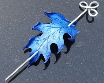 Icy Blue Leather Hair Slide Faerie Oak Leaf Hairstick Barrette or Shawl Pin with Fancy Aluminum Stick