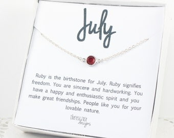 Swarovski Birthstone Necklace, July Birthstone Silver Necklace, Ruby Silver Necklace, July Birthday Gift, Birthstone Jewelry, Gifts Under 20