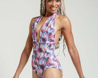 Crystal Prisms Marilyn One Piece Halter Bathing Suit
