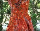 SALE Batik skort shorts dress Indonesian rust red blue medium