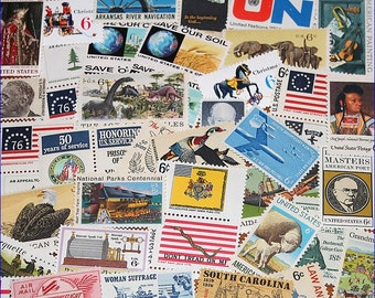 50 Unused Vintage 6c US Postage stamps from the 1960s and 1970s .. Grab bag of Fifty different stamps .. Penpals, Scrapbooks, letter writing