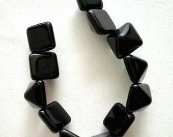 Jet Black Pyramid 12mm - 2 hole Czech Beads - 1 strand, 12 beads