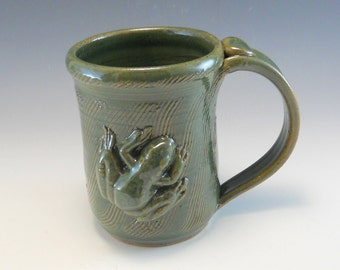 Hand Made Pottery Frog Mug/Pottery Frog Cup/Froggy mug/14-16 Ounces