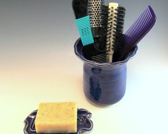 Pottery Soap Dish and Hair Brush Holder Set/Bath Set/ Pottery Bathroom Set