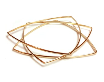 Soft Triangle Bracelet - Brass - 2mm Half Round - Handmade - Geometric - Minimalist - Geometrics - Stackable Bangles - Soft Triangle Bangle
