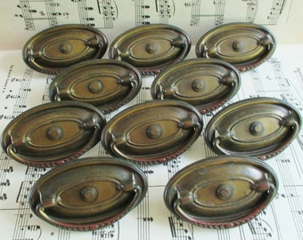 Ten Vintage Brass Drawer Pulls