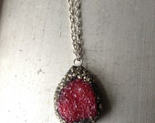 My Black Heart Beats Red, Druzy Pyrite Necklace
