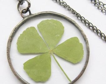 four leaf clover necklace - real four leaf clover - black clover necklace - st patricks day - statement necklace - 4 leaf clover