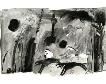 Original Faye Moorhouse Ink Illustration - Black Forest Beasts no. 4