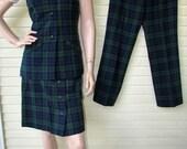 PENDLETON Plaid Suit Vintage 1960s 3 Piece Wool MOD Boho Outfit Long Vest Mini Skirt Pants/Slacks S/M