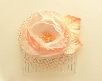 Bridal Wedding Flower Hair Comb * Flower Clip * Ivory & Peach Flower Velvet Leaves Gold Tulle  * READY TO SHIP *