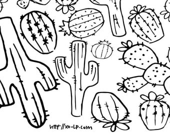 Cactus coloring page Etsy