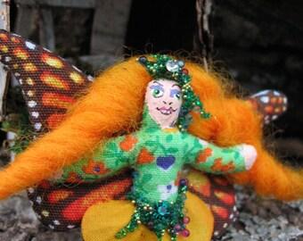 Fairy Doll Red Head Teeny Tiny Orange Monarch 2 and a half inch Pocket Fairy