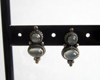 Vintage Sterling Silver and Grey Topaz Post Back Drop Earrings