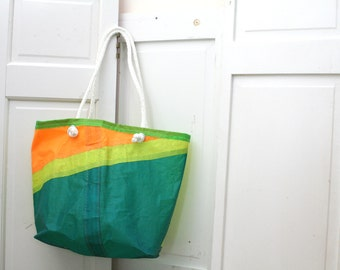 Beach Tote Upcycled from Windsurf Sails! Ready to Ship.