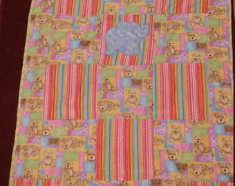 Pastel Boyds bears teddy bears elephant applique baby blanket toddler quilt crib animals flannel REVERSIBLE