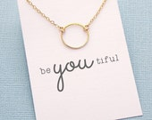 Birthday Gifts for Her | Eternity Circle Necklace | Gifts for Sister | Karma Necklace | Simple Everday Jewelry | Silver or Gold | X03