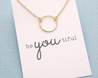 Birthday Gifts for Her | Eternity Circle Necklace | Gifts for Sister | Karma Necklace | Simple Everday Jewelry | Silver, Rose, Gold | X03