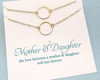 Mother Daughter Necklace | Eternity Necklace Set, Mother Daughter Jewelry Set, Gift for Mom, Mother Daughter Gift, Mom Jewelry, Karma | MD01