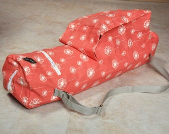 Yoga mat bag, gorgeous coral and white dandelion yoga bag, excellent quality yoga tote bag, zippered yoga mat carrier with large pockets