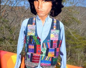 vintage 70s vest woven TRIBAL pattern guatemalan native Small Medium colorful hippie rainbow