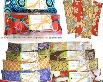 WHOLESALE: 10 Eye Pillows, Individually Packaged, Natural Heating Pad- Spa Events, Party Favors  Flaxseed and Dried Lavender