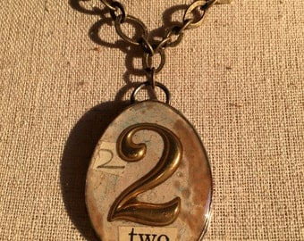 Handmade brass bezel pendant necklace with two