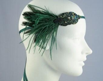 Mini Deco Flapper Feather Headband With Beaded Applique Emerald Green Or Cobalt Blue Women Children Girls