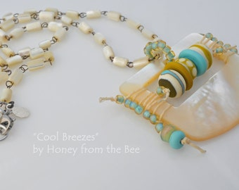 Cool Breezes - Ocean Inspired Lampwork Necklace