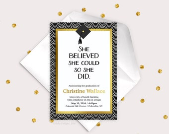 Printable Graduation Invitation, Graduation Announcement, she believed she could, Grad Invite, Graduation Party, College Graduation